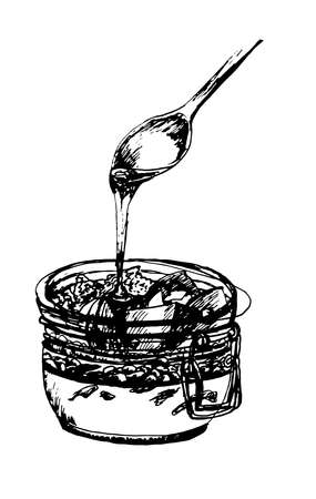 souffle: dessert spoon of honey flows in a jar with fruit, nuts and souffles,  ink sketch illustration