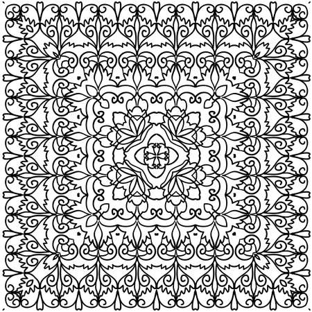 graphically: Kaleidoscope pattern in black and white with floral ornaments isolated loop Page coloring illustration Illustration