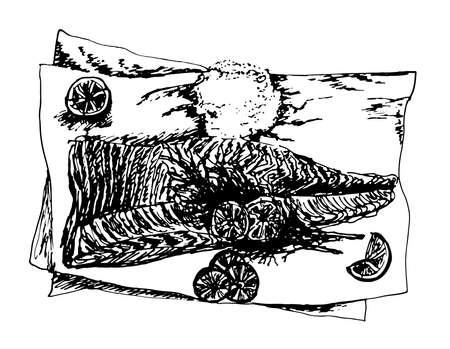 plato de pescado: sabroso plato de pescado con sal y limón cuñas dibujado a mano, negro de tinta de dibujo y la ilustración vectorial blanco