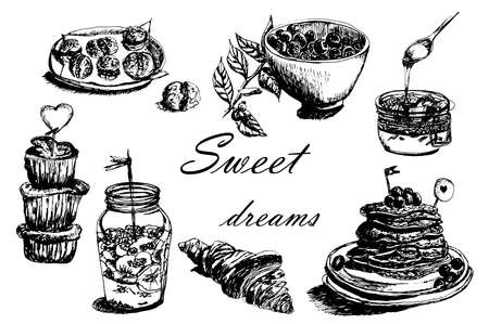 jams: Collection set of different desserts: cakes, jams and berries sketch hand-drawn vector illustration