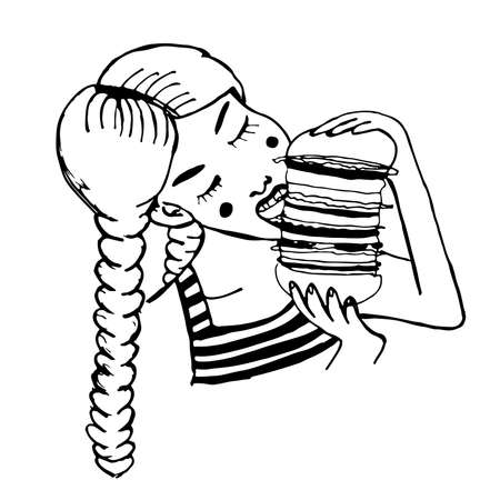 plaits: pretty girl with two plaits and vest eating huge hamburger comic cartoon vector illustration
