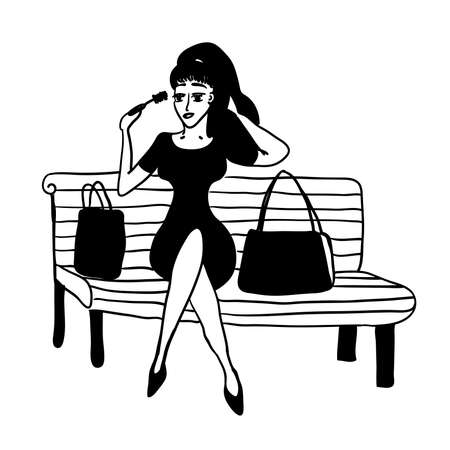skin care woman: Girl after shopping on a park bench corrects make-up sketch comic contour cartoon vector