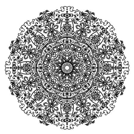 slavic: circular mandala pattern with Slavic motifs and elements of the animal style page coloring contour vector illustration