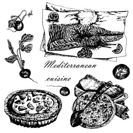 chaser: set of Mediterranean dishes: paella, pizza and fish sketch hand-drawn vector illustration