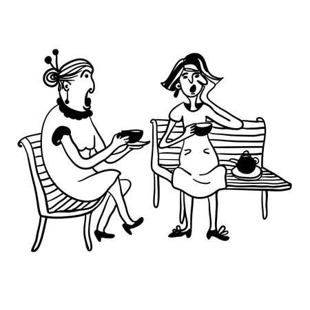 twee bejaarde vrouwen roddelen en het drinken van thee op een bankje contour komische vector illustratie