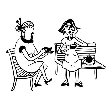 patio chair: two elderly women gossiping and drinking tea on a bench contour comic vector illustration