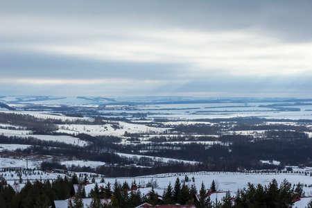 alpine hut: panoramic view of the alpine hut in the ski resort Stock Photo
