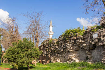 background cityscape view of the remains of the walls of the ancient Constantinople at Istanbul Stock fotó