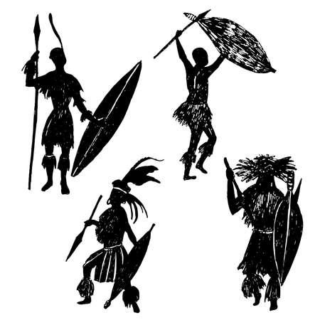 un conjunto de elementos aislados de dibujo de tinta siluetas Zulu guerreros ilustración