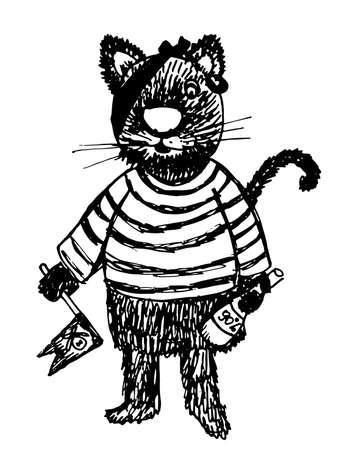ahoy: Pirate Cat drawing sketch doodle cartoon illustration Illustration