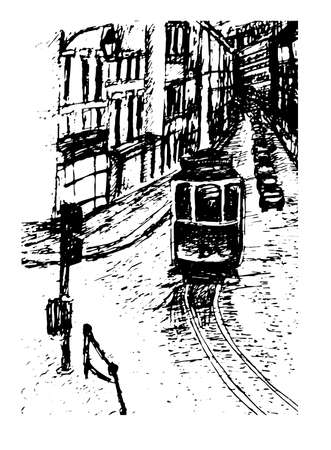 window shade: background view graphic cityscape Lisbon tram