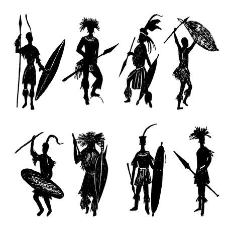 African tribal warriors drawing sketch illustration