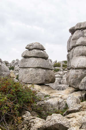 remoteness: view of the layered rocks in the Torcal de Antequera