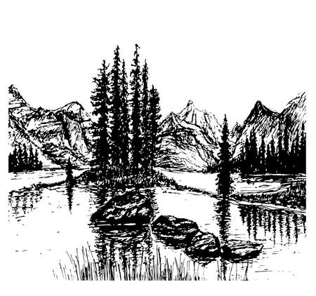 mountain view: background view of mountain landscape sketch