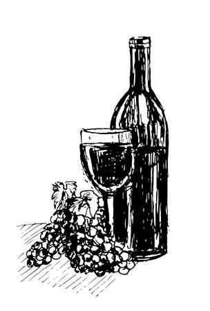 port wine: image bottle of red wine illustration Illustration