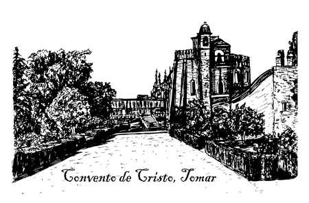 templar: view landscape monastery Templar sketch illustration Illustration
