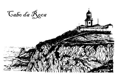 sea cliff: view of the Lighthouse at Cape Roca in Sintra illustration