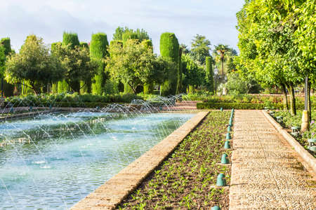 background landscape view of the Alcazar in Cordoba, Spain