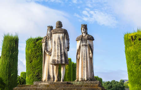 ferdinand: landscape statue kings and Christopher Columbus in Alcazar Stock Photo