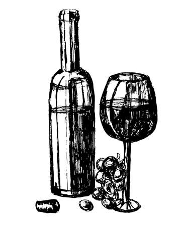 image bottle and glass of red wine illustration