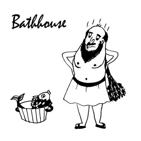 shirtless: drawing cartoon man in the bath comic illustration