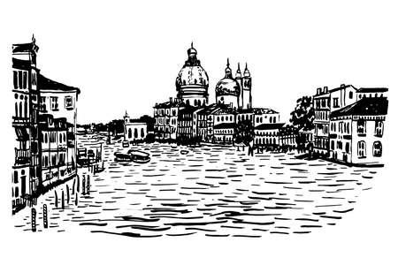 venezia: drawing background city Basilica Maria della Salute hand-drawn illustration Illustration