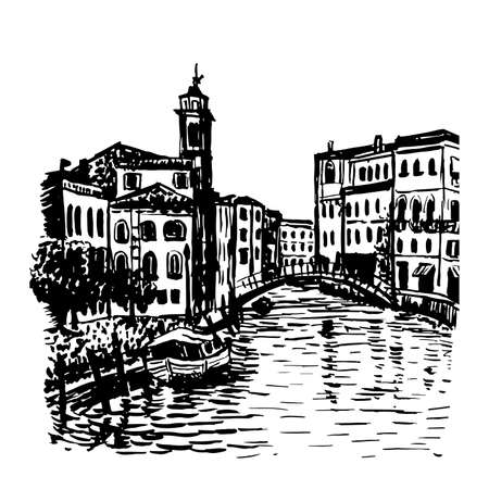 illust: drawing background cityscape in Venice sketch illust Illustration