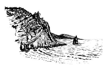 parus: drawing rock sail ink sketch illustration Illustration