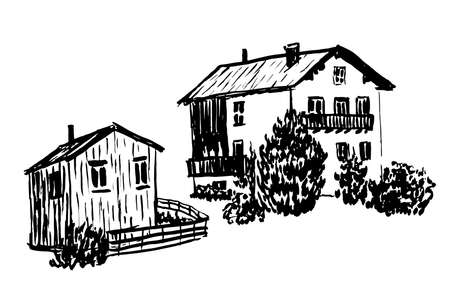 window shade: set of isolates two wooden Alpine huts illustration Illustration