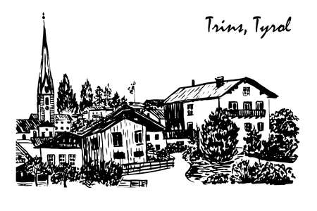 tyrol: drawing Alpine village in Trins sketch illustration Illustration