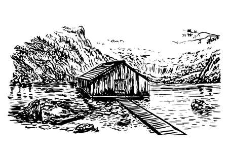 berchtesgaden: drawing view of lake Obersee  illustration Illustration