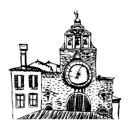 rialto: Church San Giacomo di Rialto sketch illustration Illustration