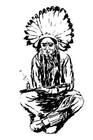 iroquois: drawing an old Indian is sitting sketch illustration Illustration