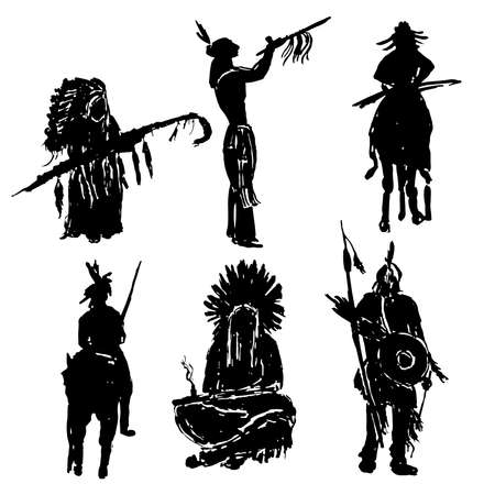 peace pipe: American Indian warriors silhouettes illustration