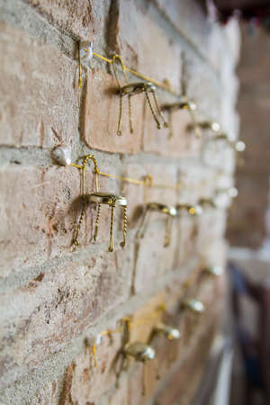 wall decor: background brick wall of the restaurant with the decor Stock Photo