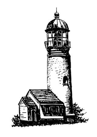 illuminative: drawing old lighthouse sketch illustration