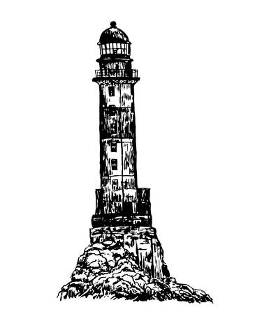 abandoned building: drawing old stone striped abandoned lighthouse sketch illustration