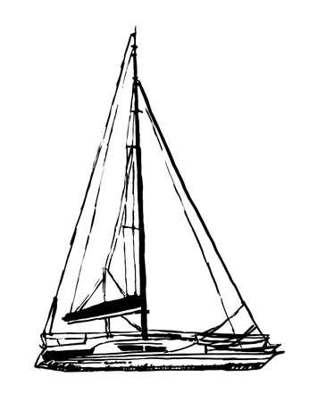 wharf: drawing light sailing yacht sketch hand drawn graphics inks vector illustration Illustration
