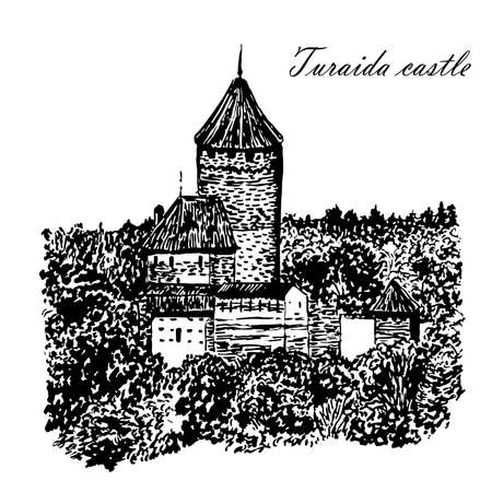 Picture Turaida castle sketch hand drawn vector illustration Illustration
