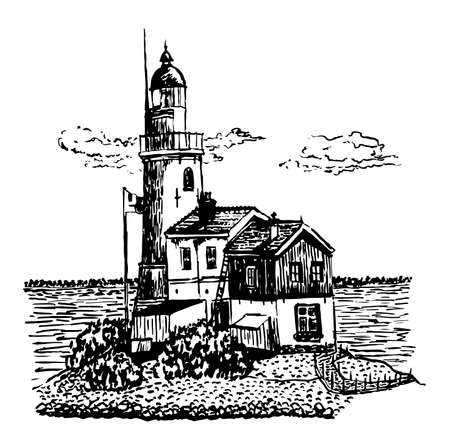 drawing lighthouse sketch, hand-drawn vector illustration