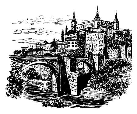 greco: drawing background landscape view of Toledo, Spain Illustration
