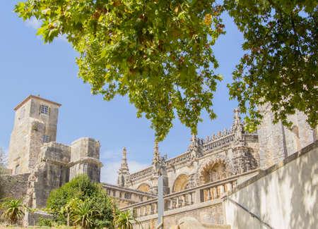 cristo: background landscape medieval Templars monastery, Church Convento de Cristo in Tomar, Portugal Stock Photo