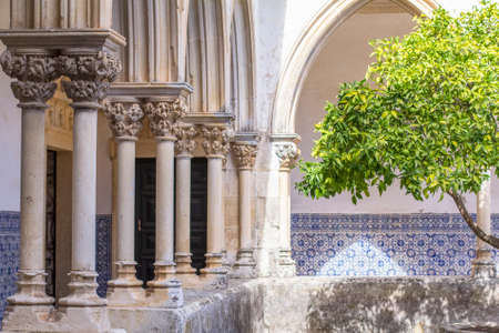 background landscape view of the courtyard of the monastery Templar in Tomar, Portugal Stock Photo
