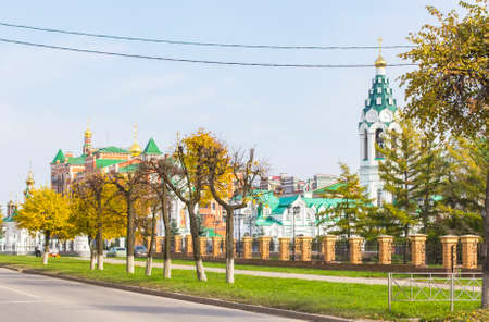 background cityscape view of Orthodox Church in the center of Yoshkar-Ola, Mari El, Russia