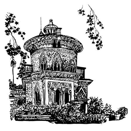 background Side facade of the palace in the estate of Montserrat, in Sintra, Portugal, sketch hand drawn illustration Illustration