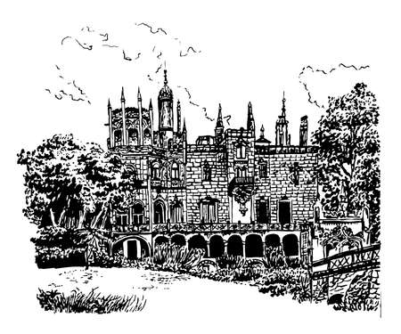 the aristocracy: background facade of the palace in the estate of Quinta de Regaleira, in Sintra, Portugal, sketch hand drawn  illustration