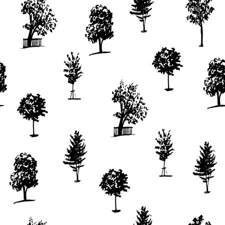 plant tree: background set of seamless pattern of trees silhouettes isolate on a white background hand drawn vector illustration