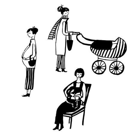 awaiting: set of isolated picture of womans sketch illustration