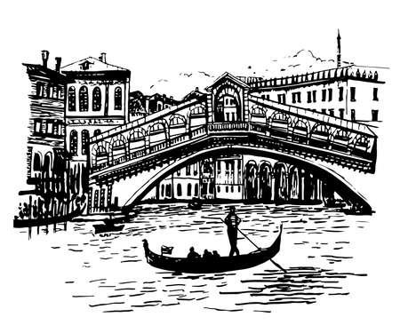 backgroundobraz widok na lagunę, Most Rialto i gondole w Wenecji, Włochy, szkic Ręcznie rysowane ilustracji wektorowych