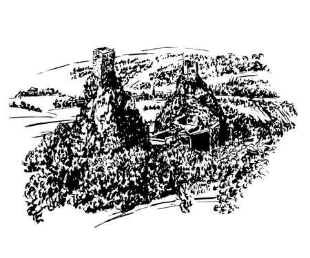 自由奔放な楽園、チェコ共和国、スケッチ、ベクターの手描きイラストの Trosky 城の遺跡の描画風景を見る  イラスト・ベクター素材